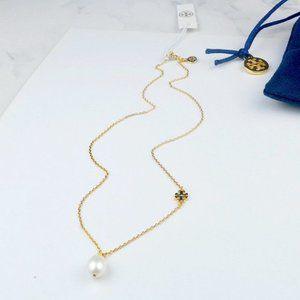 Tory Burch Natural Pearl Pendant Logo Necklace